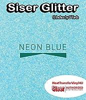 Siser Glitter Iron On Heat Transfer Vinyl 12 Inches (Neon Blue, 3 Yards)