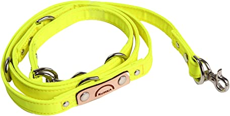 ルンカ 国産反射材使用・長さ調節3段階・シートベルト代わりにも多機能犬用リード(~5キロまで) 黄色
