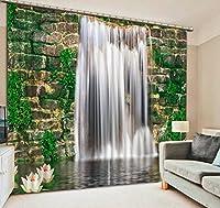 Wapel カスタム 滝の風景3D写真ブラックアウト3Dカーテンリビングルームベッドルームキッズルーム H215 * W200cm