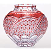 カガミクリスタル 花瓶(六角籠目に袴紋) 江戸切子 F463-1304CAU