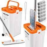 Flat Squeeze Mop and Bucket Set with 3PCS Microfiber Pads for Floor Cleaning Self Wring Mop and Bucket System Separate Dirty