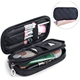 Samtour Makeup Bag Portable Makeup Pouch Makeup Brush Holder 2 Layer Cosmetic Organizer for Travel Women Girls (Black Small)