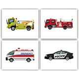 "Transportation Car Inspirational Quote Art Painting Set of 4 (8""X10"" Canvas Picture),Trucks Police Car Fire Truck Rescue Vehi"