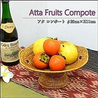 MANJA BAS-0197-B バリ雑貨 アタ製品 フルーツコンポート パンカゴ (B:黒柄ポイント)直径25cm