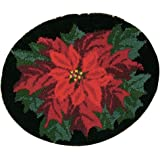 Latch Hook Kit DIY Rug Carpet Handcraft Cushion Embroidery Set Crocheting for Kids & Adults Animal/Flower Pattern (Poinsettia