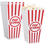 """[Novelty Place] Plastic Red & White Striped Classic Popcorn Containers for Movie Night - 4"""" Square x 8"""" Deep (4 Pack)"""