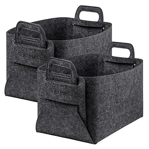 KUMFI 収納ボックス カゴ 収納 バスケット 折りたたみ ランドリー 収納ケース 衣類 洗濯かご 取って付き 小物入れ おもちゃ 箱 ダークグレー (2個セット)