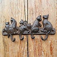 KTYX ファッション鍛鉄は、6猫のフィギュアフックを浮き彫りにした コートハンガー