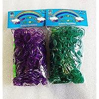 [Artasy ™][並行輸入品] DIY 金属色ゴムバンドブレスレット (パープル & グリーン) Loom Bands twins refill Pack - (600 + 600 pcs) rubber ring Color: Purple x Green