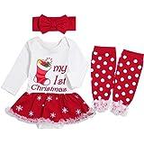 My 1st Christmas Newborn Baby Girls Christmas Outfit Long Sleeve Romper + Leg Warmers + Headband Tutu Dress Sets