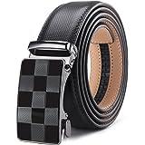 XsFireCow ベルト メンズ オートロック おしゃれ 革 ブラック オートロック式 黒 ブラック バックル レザー 紳士 穴無し ビジネス カジュアル 130cm