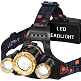 MAS MODO Headlamp Flashlight USB Rechargeable - LED Brightest 6000 lumens Work Headlight,IPX6 Waterproof & 18650 Flashlight w