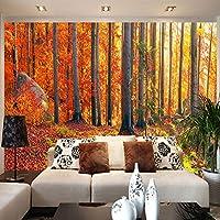 Gyqsouga カスタム壁画壁紙3Dステレオゴールデンフォレスト自然風景写真壁画リビングルームレストランカフェ背景壁-200X150CM