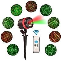 クリスマスレーザーライトプロジェクタwith RFIDワイヤレスリモート防水アルミニウム合金ケース、赤と緑スターシャワーconstitute Charmingパターンby mnopq