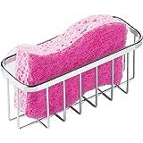 InterDesign Gia Sink Caddy, Stainless Steel Dish Sponge Holder, Essential Kitchen Sink Organiser, Silver