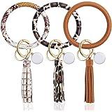 3PCS Key Ring Bracelets Wristlet Keychain, Leather Bangle Keyring for Women