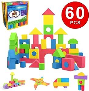 Kingstar 積み木 ブロック やわらかい積み木 60ピース EVA素材 かるくてふんわりつみき 新観念建築 おもちゃ ブロック 倒れても痛くない ぶろっく 多色 DIY手作り 知育 玩具 子供ブロック やわらかつみき ブロック ソフト 男の子 おもちゃ 女の子 贈り物 誕生日 プレゼント 出産祝い ブロックオモチャ 組み立て おもちゃ 小学生 知恵おもちゃ 収納バック付き