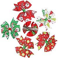 Tovadoo ヘアピンセット 子供用 女の子 クリスマス クリスマスイブ リボン 5点セット 髪飾り キュート おしゃれ パーティー ダンス イベント用 3-10歳