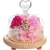 ティートサイト プリザーブドフラワー フラワーアレンジ ラッピング済み ハートガラスポット 3輪 (バラ ピンク )