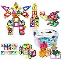 Kingstar 立体パズル 磁気おもちゃ マグネットブロック磁気ブロック76個 磁石ブロック マグネット3d立体パズル 外しにくい カラフル 磁石付き 積み木 幾何学認知 磁性構築ブロック magnet 子供プレゼント 四角 三角 六角 想像力と創造力を育てる磁気建設玩具 子供のおもちゃ 数字カード 車輪