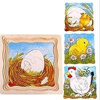 HuaQingPiJu-JP 創造的な木製の漫画の多層パズルアーリーラーニング番号の形の色の動物のおもちゃキッズ(鶏)のための素晴らしいギフト