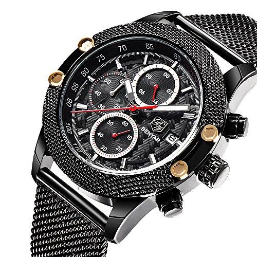 Benyar アナログスポーツ腕時計多機能クロノグラフ 銀...