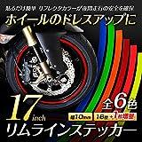 MAXWIN(マックスウィン)  1本増量 リムライン ステッカー リムガード 17インチ ホイール 蛍光 夜間走行 イメージチェンジ DIY リムステッカー バイク 自動車 (蛍光レッド) K-LIM02-LR
