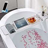 (新包装)バスタブトレー バスタブラック 浴室用ラック バステーブル バスラック 伸縮式 ズレ防止 大容量 水切り お風呂用品 (白)