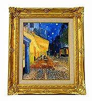 世界の名画ゴッホ 夜のカフェテラス ジクレーキャンバス複製画 F3号豪華額装品