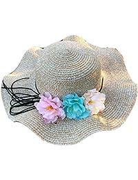 Yunping レディース 春夏 取り外すあ ご紐 折りたたみ サイズ調節 麦わら帽子