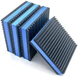 "Forestchill Heavy Duty Anti-Vibration Pads 4"" x 4"" x 7/8"" Ribbed Rubber with Blue Foam Center Isolation Pad for HVAC,Air Comp"