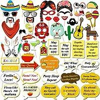Mexicanフィエスタ写真ブース小道具、Konsait面白い写真ブース自撮りProspメキシコの誕生日ウェディング独身フィエスタテーマパーティーFavors Supplies Decorations ( 56Count )