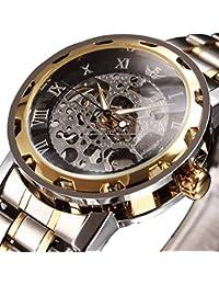 時計、機械式時計 メンズウォッチクラシックスタイルのメカニカルウォッチスケルトンステンレススチールタイムレスデザインメカニカルスチームパンク (ゴールドブラック)