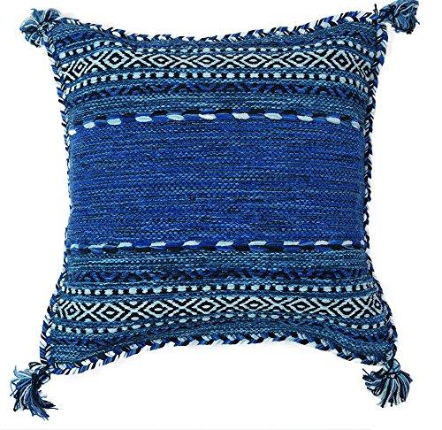 RoomClip商品情報 - クッションカバー 手織り キリム 綿素材 45x45cm ブルー エスニック アジアン インド製 (ブルー)