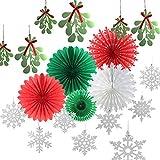 クリスマスカラーペーパーファンDecorationsキットMistletoe Garlands Glitterシルバースノーフレークオーナメント冬クリスマスパーティーSupplies Sunbeauty 14ピース(レッドグリーンwhite-2 )