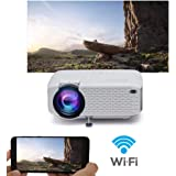 WiFi Projector, 2019 Newest Wireless Projector, Mini Projector Portable for Home Outdoors, USB Directly Connect for Smartphon