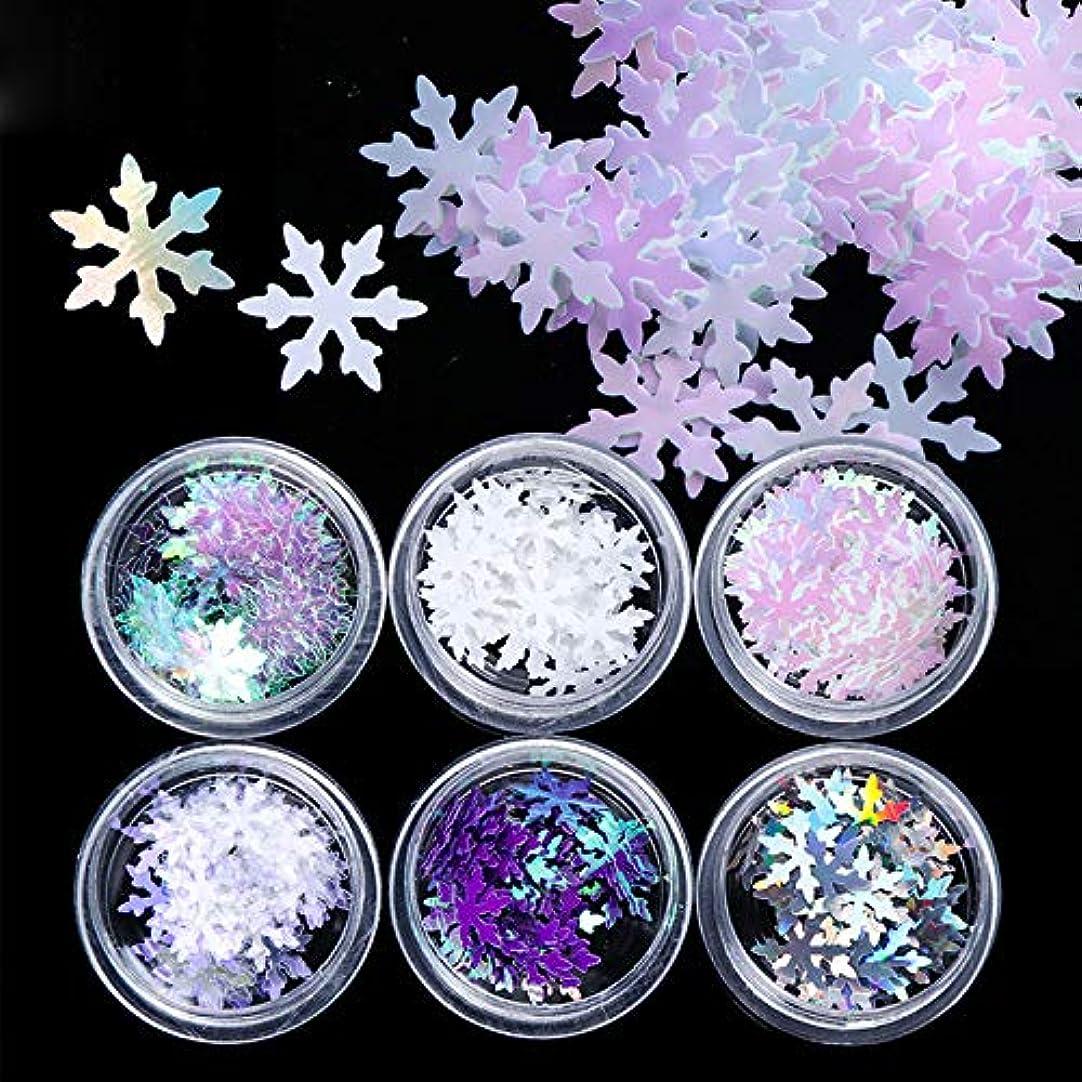 精巧な告発ポンペイ6 色セット 雪の結晶  冬ネイル 雪花 クリスマス  ネイルパーツネイルデコレーションジェルネイル ネイルアート ケース入り