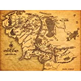 KSM Map of Middle Earth The Lord of The Rings Fabric Canvas Cloth Poster Print for Bar Office Room Wall Print Home Decoration 14x17.99inch(35.6x45.7cm) Unframed (Style C)