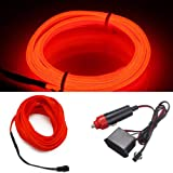 HomDSim 118inch 300cm Auto Car Interior Decor LED Neon Light Lamp Glow EL Wire String Strip 12V (315inch/800cm, red)