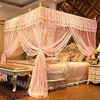 姫ベッドキャノピー,ピンクの蚊帳 4 つのコーナーの蚊帳ベッドキャノピー 2 開口蚊帳 モスキート ベッド ダブルベッド 昆虫を追い払う・ ハエを保つ 長方形のフライ スクリーン-J Queen1