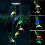SIX FOXES Wind Chime, Solar Hummingbird Wind Chimes Outdoor/Indoor(Gifts for mom/momgrandma Gifts/Birthday Gifts for mom) Out