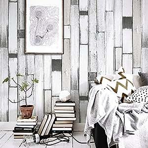 HaokHome 0301 DIY ヴィンテージ抽象的な木製のパネル壁紙ロールブラック/ホワイト/グレーツリープランクは、ホームインテリアベッドルームの装飾を感動しました 53cm×10m(並行輸入品)