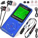ZHIWHIS ミニAM/FM/ワイドfmスポーツラジオ 充電式デジタルクロックポータブルラジオ スリープおよび歩数計機…