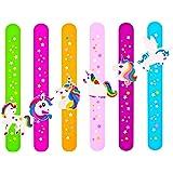 Tense 6 Pcs Colorful Star Slap Bracelets, Silicone Unicorn Wristband for Kids Boys & Girls Birthday Party Supplies Favors