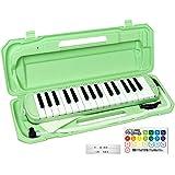 KC キョーリツ 鍵盤ハーモニカ メロディピアノ 32鍵 ライトグリーン P3001-32K/UGR (ドレミ表記シール・クロス・お名前シール付き)
