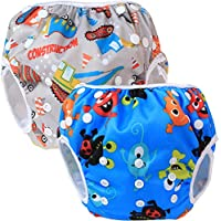 Teamoy 水遊びパンツ 2点セット 0-3歳 赤ちゃん用 ボタンでサイズ調整可能 防水外層 ポリエステルメッシュ内層 オムツカバー スイミング教室?公園?海水浴?温泉旅行(建設+ハッピー生き物)