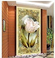 Bzbhart ヨーロッパ式の油絵の花のポーチの背景の装飾的な絵画3dの浴室の壁紙-120cmx100cm