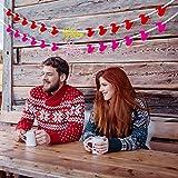 グリッター I Love You バナーとハート型 ガーランド レッドロザリオ - バレンタインデー ウェディングパーティー デコレーション 写真小道具 - 2個