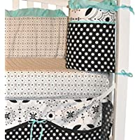 Black White & Turquoise Fitted Sheet for Girl's Nursery by DK Leigh NEW by DK LEIGH