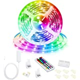 Led Strip Lights, 16.4ft/5M 24V RGB Color Changing Led Strip Lights with 44 Keys RF Remote Controller 5050 LED Rope Lighting